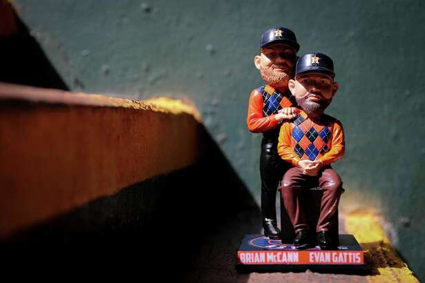 The Houston Astros' Bobblehead of the Month for June was Brian McCann and Evan Gattis.