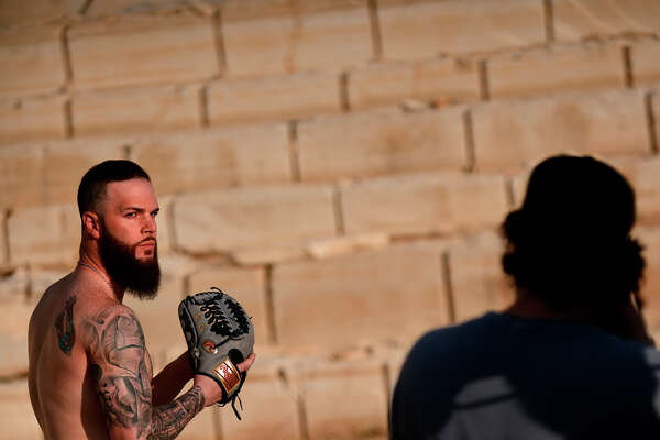 Georgetown, TX - Dallas Keuchel ESPN Body Issue.  Dallas Keuchel is photographed by photographer Kurt Iswarienko at the Yearwood Quarry in Georgetown, Texas on Monday, May 21, 2018.  Photo by Eric Lutzens