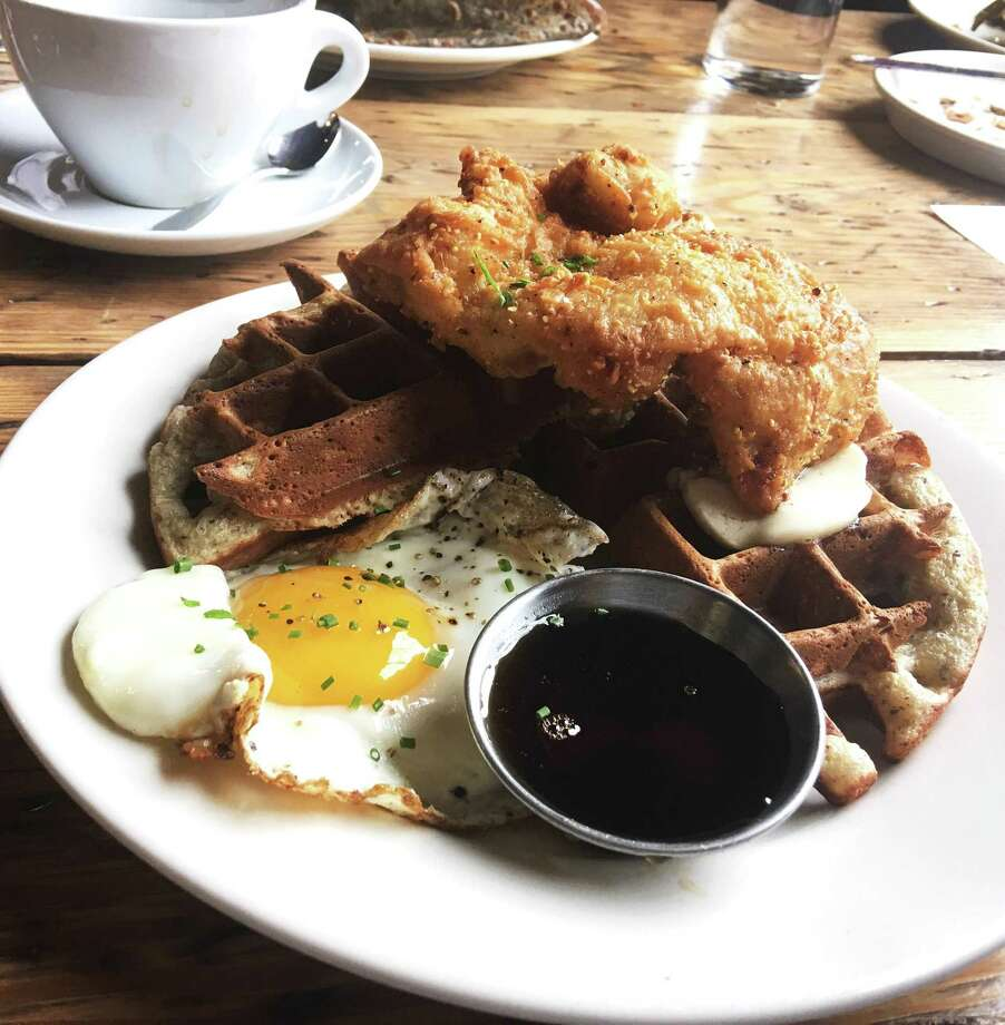 Fried chicken on waffle at Commune in Virginia Beach, Va. Photo: Photo By Candy Sagon For The Washington Post. / For The Washington Post