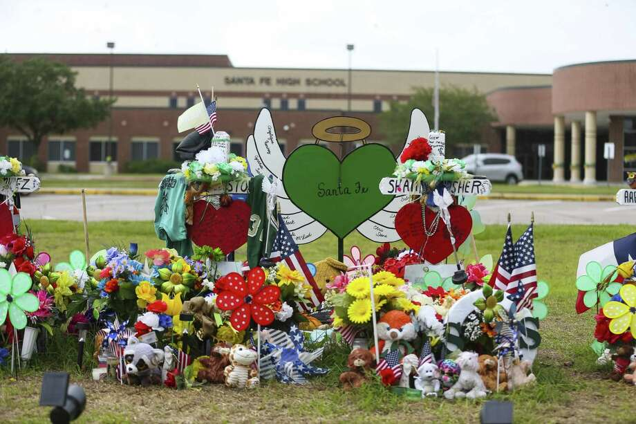 The memorial in front of Santa Fe High School along Highway 6, Monday, June 18, 2018 in Santa Fe.  ( Mark Mulligan / Houston Chronicle ) Photo: Mark Mulligan, Houston Chronicle / Houston Chronicle / © 2018 Houston Chronicle