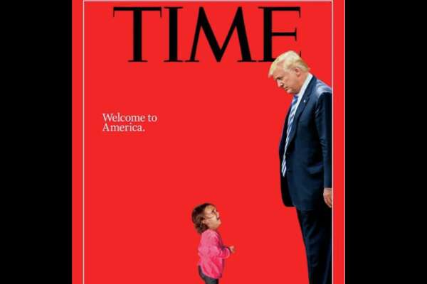 The latest cover of Time magazine depicts President Donald Trump's immigrant family separation policy by showing Trump towering over a crying migrant child and staring down at her.