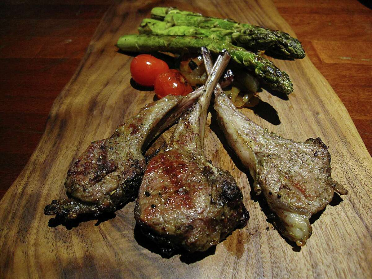 Lamb chops with roasted asparagus and a hot onion salad from The Winchester.
