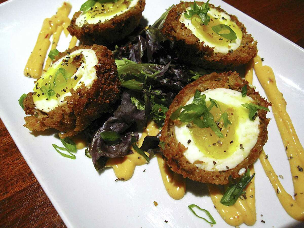 Scotch eggs made with chorizo from The Winchester.