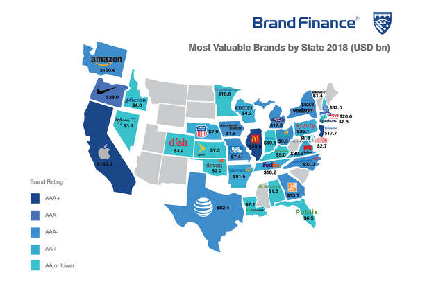 Brand Finance's 2018 list of the most valuable brands by state.