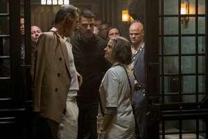 "Jeff Goldblum (left), Zachary Quinto and Jodie Foster in ""Hotel Artemis."""