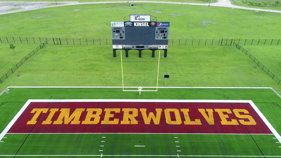 Beaumont Independent School District's new artificial turf with the Timberwolves and Bruins labeled in the end zones was unveiled Thursday morning. Photo taken Thursday, 6/21/18 Photo: Guiseppe Barranco/The Enterprise / Guiseppe Barranco ©