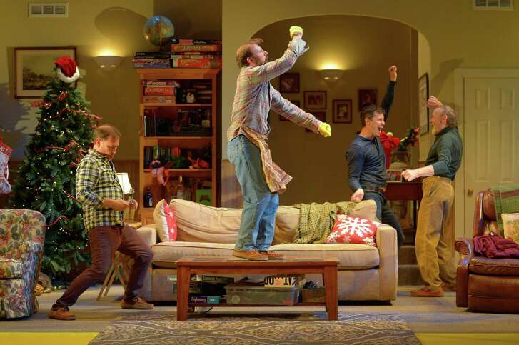 """Christian Haines, Ryan Tasker, Seann Gallagher and James Carpenter play a family reuniting for an all-bachelor holiday in Marin Theatre Company's """"Straight White Men."""""""
