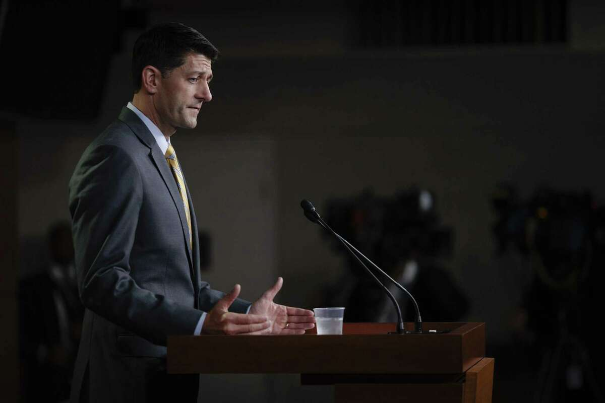 """House Speaker Paul Ryan (R-Wis.) speaks about immigration at a news conference on Capitol Hill, in Washington, June 21, 2018. With the immigration bills?' prospects appearing dim, Ryan declined to speculate on the House?'s next move at the news conference. ?""""We will cross that bridge if we get to it,?"""" he said. (Tom Brenner/The New York Times)"""