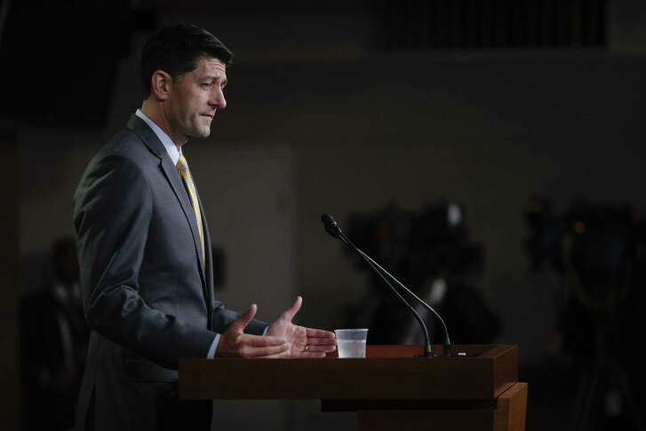 """House Speaker Paul Ryan (R-Wis.) speaks about immigration at a news conference on Capitol Hill, in Washington, June 21, 2018. With the immigration bills' prospects appearing dim, Ryan declined to speculate on the House's next move at the news conference. """"We will cross that bridge if we get to it,"""" he said. (Tom Brenner/The New York Times)"""
