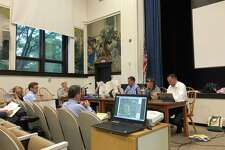 The Planning and Zoning Commission conduct a meeting on Highfield Farm's special permit application.