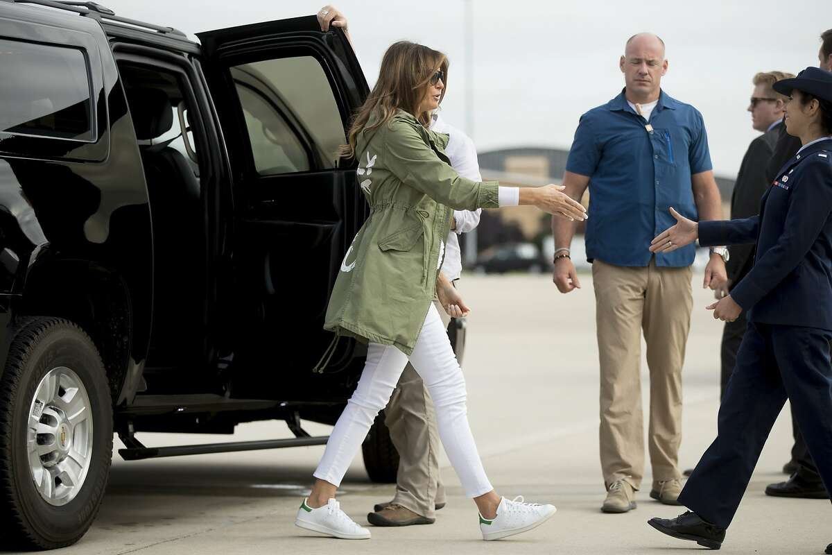 First lady Melania Trump arrives to board a plane at Andrews Air Force Base, Md., Thursday, June 21, 2018, to travel to Texas to visit the U.S.-Mexico border. (AP Photo/Andrew Harnik)