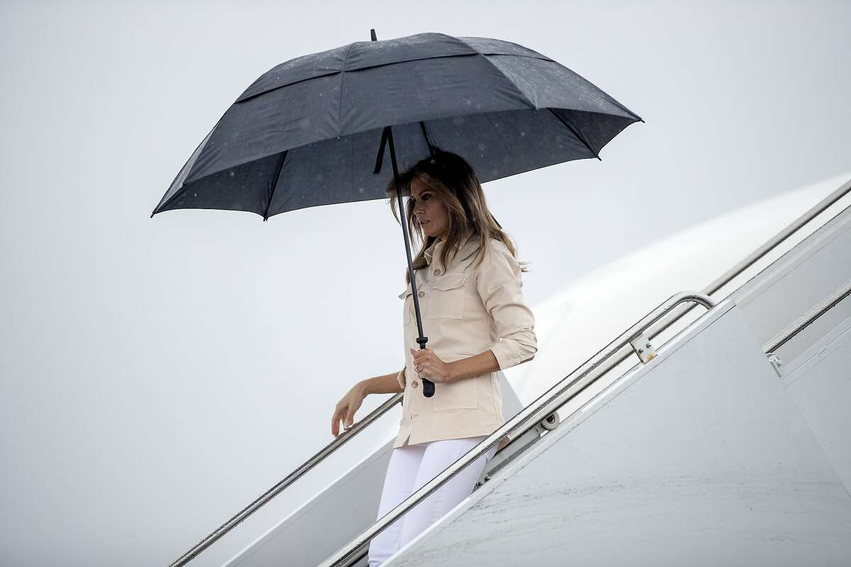 First lady Melania Trump arrives at McAllen Miller International Airport in McAllen, Texas, Thursday, June 21, 2018, to visit the Ursula Border Patrol Processing Center and the Upbring New Hope Children Center run by the Lutheran Social Services of the South. (AP Photo/Andrew Harnik)