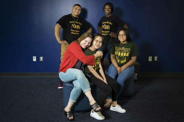 Jennifer Kuhleman, a teacher at Sharpstown High School, organized the high school students and staff to help the families of those affected by Hurricane Harvey. The students included Douglas Menjivar, 17, Folasade Orepo-Orjay, 17, Sara Bonilla, 16, and Truc Huynh, 17.