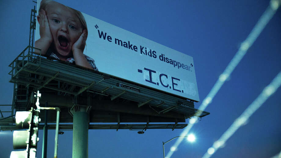 "A billboard on 880 was vandalized and modified Wednesday night by an activist group to read, ""We make kids disappear. - I.C.E."" I had originally been an advertisement for 1-800-GOT-JUNK. Photo: INDECLINE"