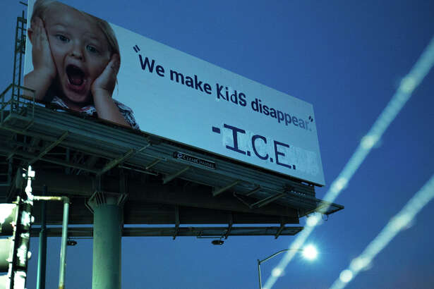 """A billboard on 880 was vandalized and modified Wednesday night by an activist group to read, """"We make kids disappear. - I.C.E."""" I had originally been an advertisement for 1-800-GOT-JUNK."""