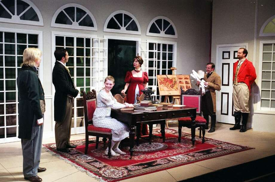 Contributed photo/Tom Hughey From left, Andrew Morris, Damian Long, Caroline Osborn, Susan Doran, Steve Whitaker and Kyle Runestad perform a scene from the Town Players of New Canaan's recent production of 'Arcadia.' The show, from auditions to the dismantling of the set, is featured in a new DVD produced by the Players that will be shown in July on Connecticut Public Broadcasting Television. Photo: Contributed Photo / Stamford Advocate Contributed