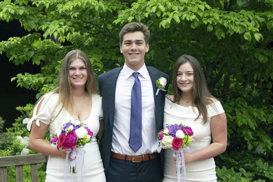 New Canaan residents, from left, Katie Mackle, Owen Petno and Brooke Bakish were among 82 graduates from Greens Farms Academy on June 7. Mackle, who will attend the U.S. Naval Academy, received the Barbara Conlon Award for her interest in the study of biology and the Barbara Hellwig Rose Outstanding Athlete Award. Petno will attend New York University in the fall. Bakish was named to the Cum Laude Society and received the Upton Award for English. She will attend Columbia University in the fall. Photo: Contributed Photo