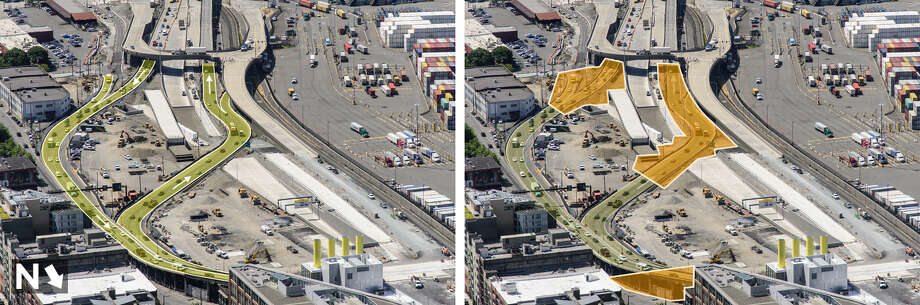 Left: Current state Route 99 near the stadiums (looking south). Right: Work areas needed to open the tunnel. Photo: WSDOT