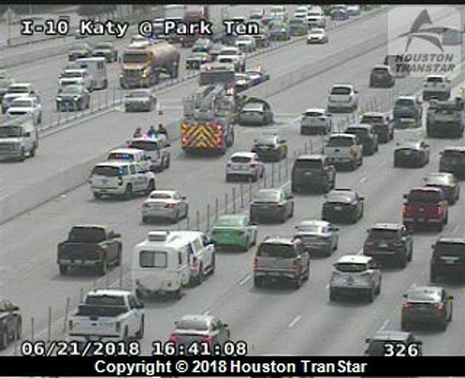 A car fire on the Katy Freeway's outbound HOV lane has some of the HOV lanes blocked, according to Houston TranStar cameras. Photo: Houston TranStar