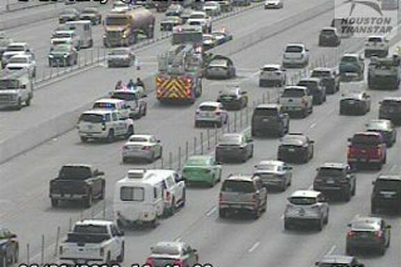 A car fire on the Katy Freeway's outbound HOV lane has some of the HOV lanes blocked, according to Houston TranStar cameras.