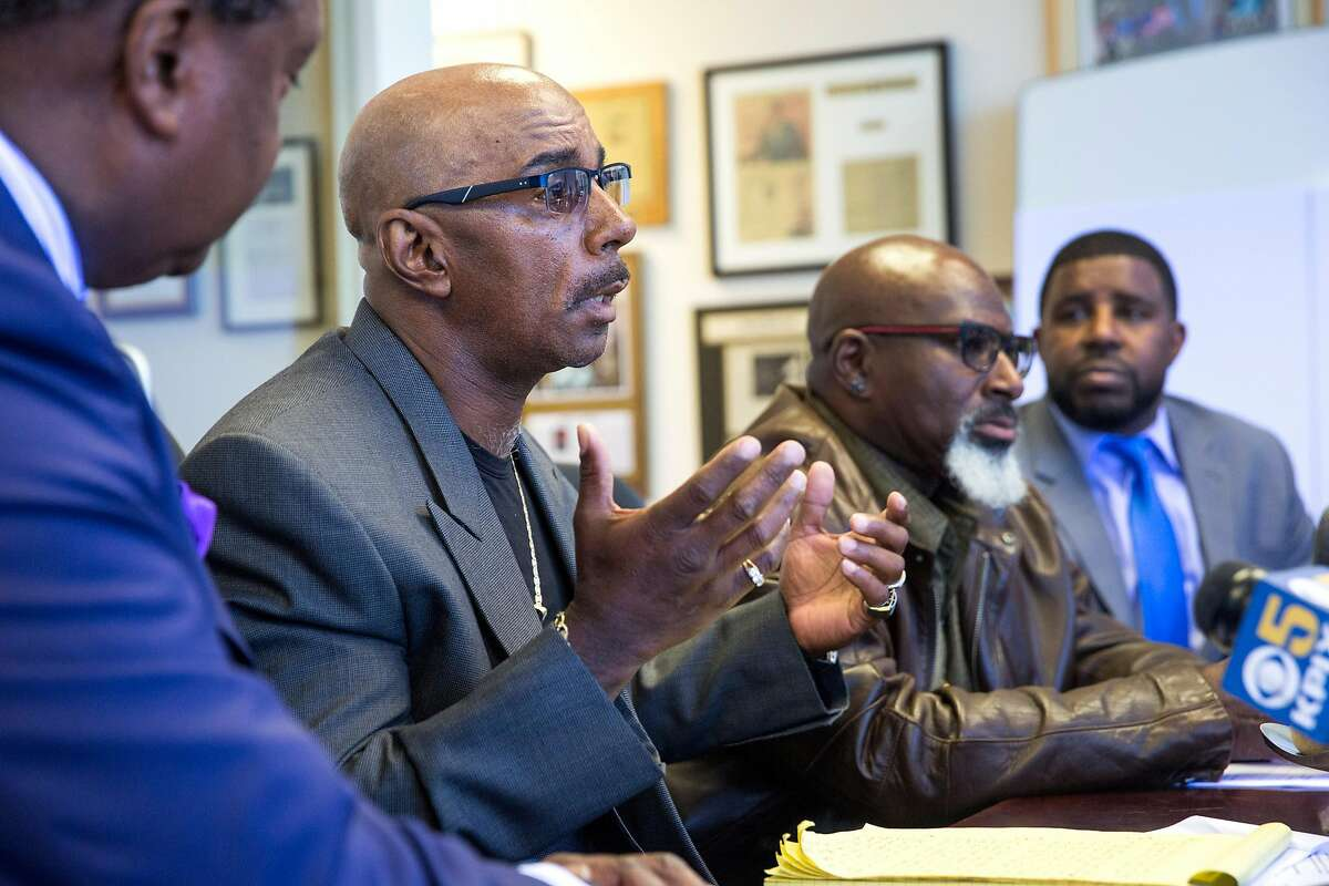 Craig Ogans, one of the victims, speaks at a press conference at John L. Burris law offices in Oakland on Thursday, June 21, 2018. Oakland Calif. The press conference was held to announce the filing of racial discrimination claims against Clark Construction in San Francisco.
