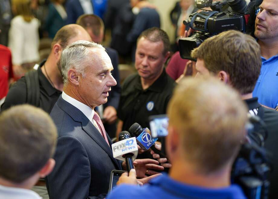 Major League Baseball commissioner Rob Manfred speaks to reporters in Omaha, Neb., on Thursday. Photo: Nati Harnik / Associated Press