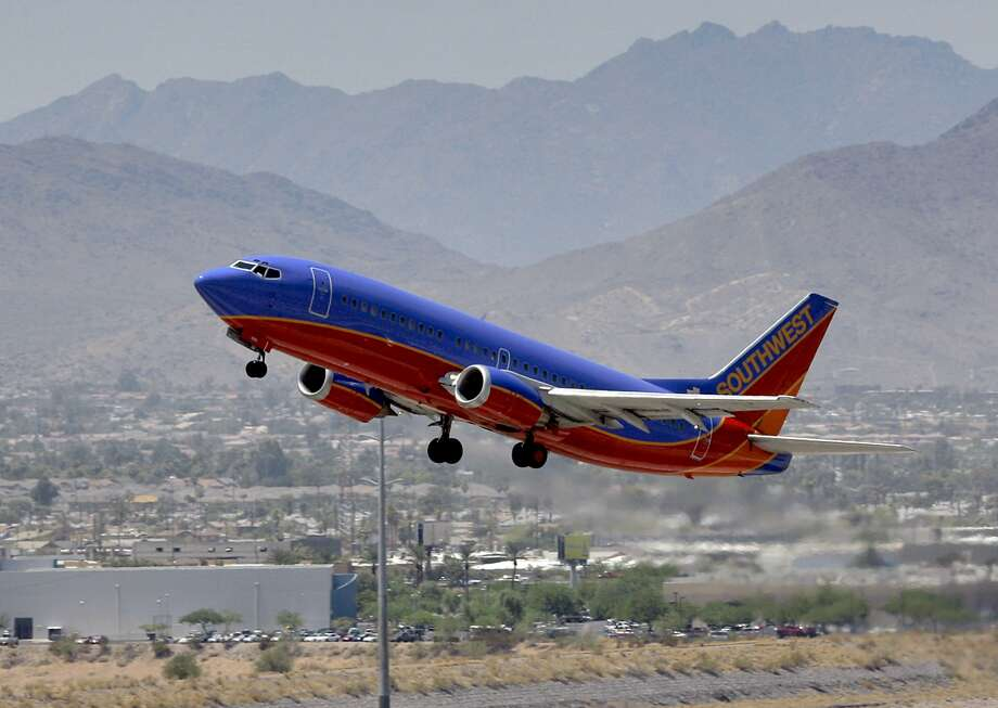 A Southwest Airlines jet takes off from Phoenix. The cost to fuel jets is lower now, because of the coronavirus. And it's not just because demand has plummeted. Photo: Matt York, AP