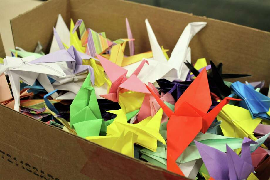 Emmett O'Brien Technical High School  students created  colorful paper birds with inspirational messages for  patients at Yale New Haven Hospital's Smilow Cancer Center. Photo: Jean Falbo-Sosnovich / Hearst Connecticut Media