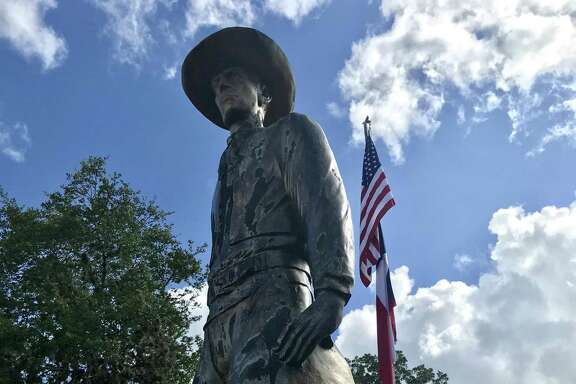 "A Pleasanton chiropractor and radio-station owner commissioned a statue commemorating the Atascosa County town as ""the birthplace of the cowboy."""
