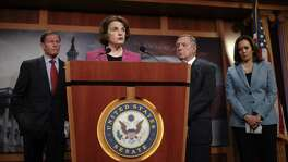 Sen. Dianne Feinstein (D-Calif.) speaks at a news conference regarding the Keep Families Together Act, on Capitol Hill June 12. The Democratic outrage over family separations at the border stands in sharp contrast with their silence when this was done by a Democratic president.
