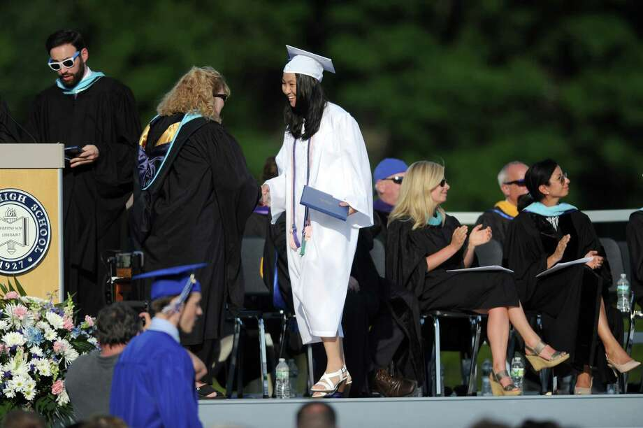 Photos from the Darien High School Class of 2018 Commencement ceremony on the school's football field in Darien, Conn. on Thursday, June 21, 2018. Photo: Michael Cummo, Hearst Connecticut Media / Stamford Advocate