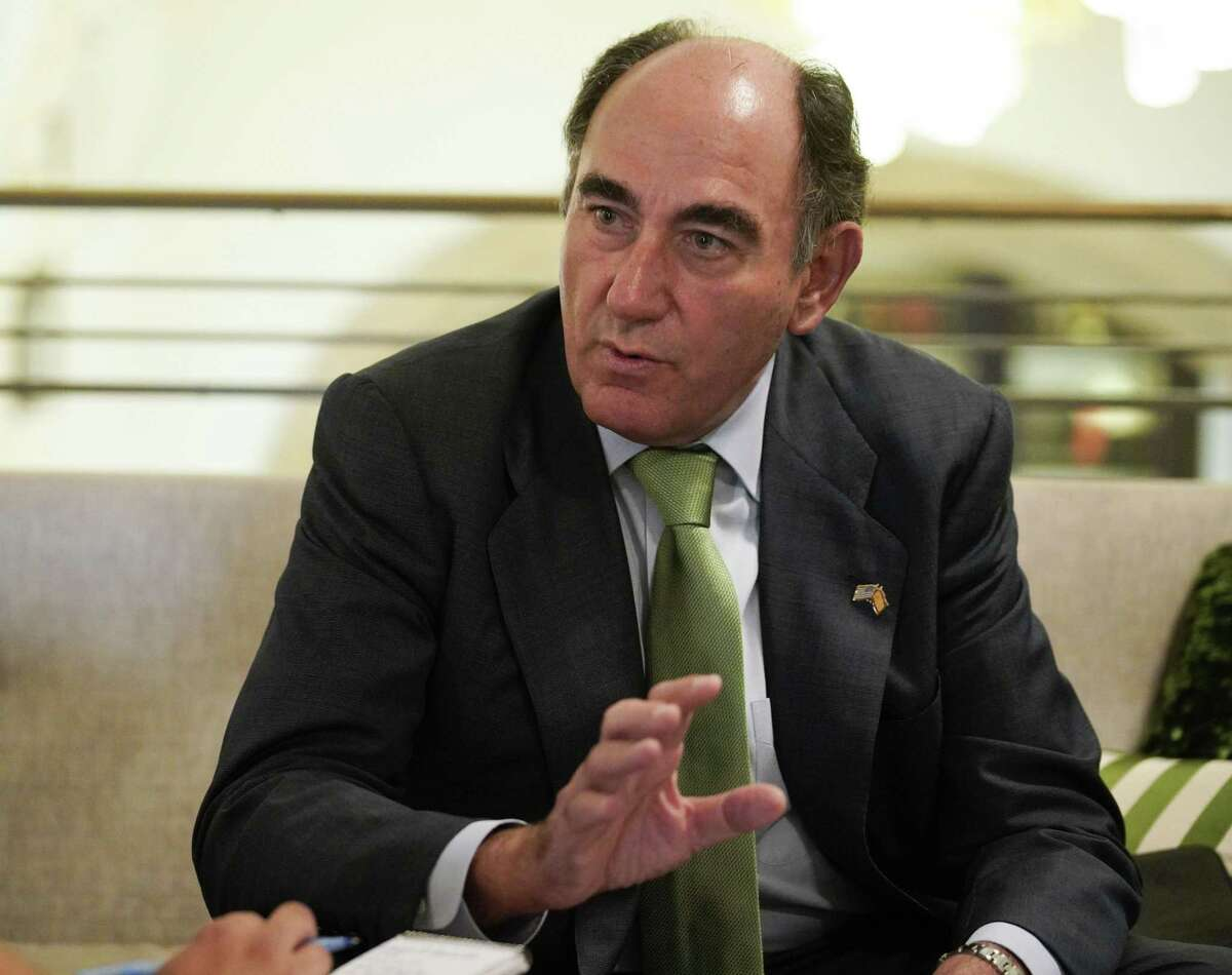 Ignacio Galan, CEO of Spanish energy utility company Iberdrola, speaks during a media interview, Monday, June 18, 2018, at the St. Anthony Hotel in San Antonio. (Darren Abate/For the Express-News)