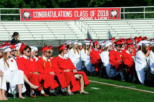New Canaan High School holds the Class of 2018 graduation ceremony at Dunning Field on June 21, 2018 in New Canaan, Connecticut.