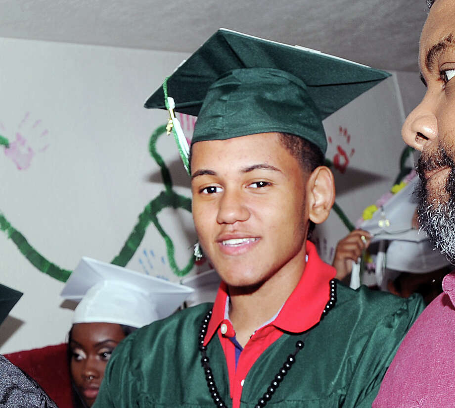 John Montero Delos Santos during his Stamford Academy graduation ceremony at the Trailblazers Academy in Stamford, Conn., Thursday night, June 21, 2018. Thirty-seven students graduated from the school that provides smaller class sizes, individualized attention and a curriculum that is based on the National Common Core State Standards. Chefren Gray the owner of Gray Matter Photography was the keynote speaker. Photo: Bob Luckey Jr., Hearst Connecticut Media / Greenwich Time