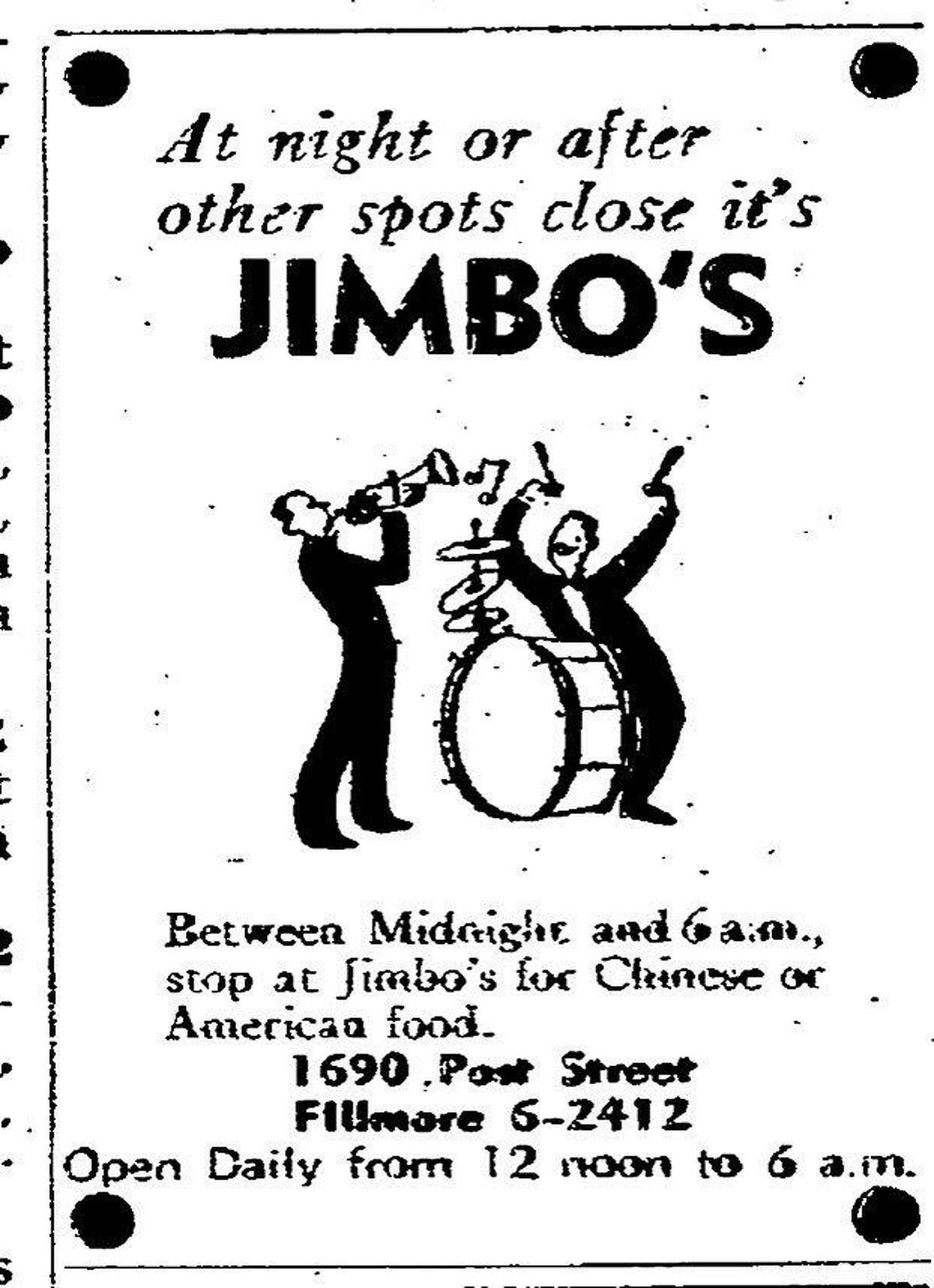 A May 17, 1954 Chronicle ad for Jimbo's Bop City, a popular jazz club that closed in 1965 located at 1690 Post St.,