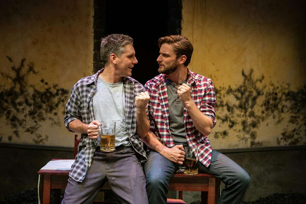 From left: Alfred (Timothy Roy Redmond) and Justin (Josh Schell*) bond over beers in San Francisco Playhouse's