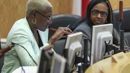 Houston ISD Board of Education first vice president Jolanda Jones asks a question during an agenda review meeting Monday, April 30, 2018 in Houston. The board did not vote to send a plan to the Texas Education Agency by the Monday deadline, which could have prevented the state takeover or closure of 10 long struggling schools. (Michael Ciaglo / Houston Chronicle)