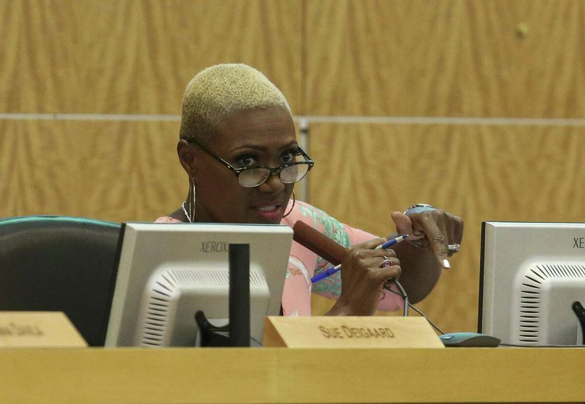 Houston ISD Board of Education Trustee Jolanda Jones talks about her thoughts on the 2018-2019 budget proposal during a school board meeting on Thursday, June 14, 2018, in Houston. The trustees voted 5-4 to reject the district's proposed budget. ( Yi-Chin Lee / Houston Chronicle )