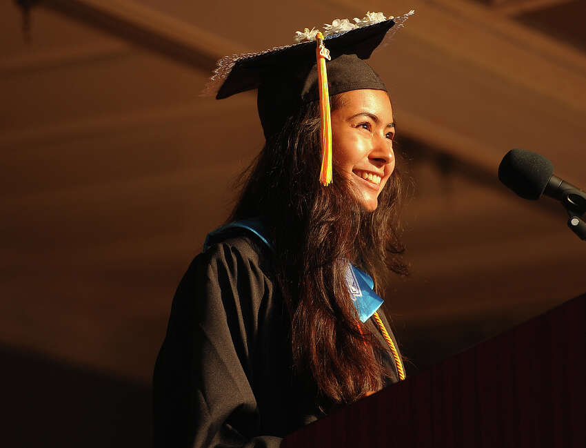 Valedictorian Saumya Shah delivers her address at the Shelton High School graduation in Shelton, Conn. on Thursday, June 21, 2018.