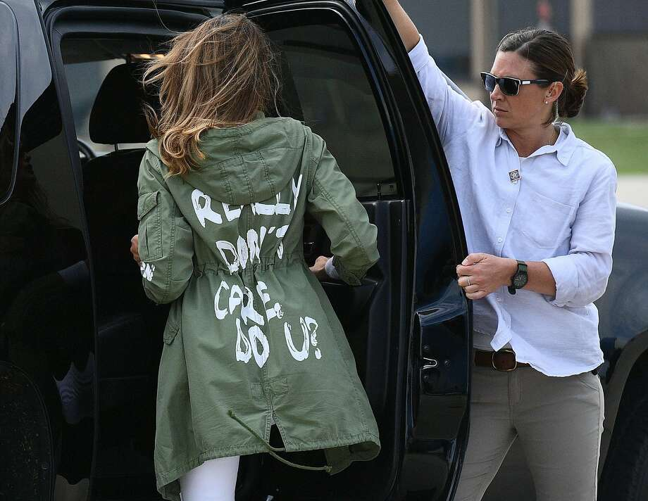 """US First Lady Melania Trump departs Andrews Air Rorce Base in Maryland June 21, 2018 wearing a jacket emblazoned with the words """"I really don't care, do you?"""" following her surprise visit with child migrants on the US-Mexico border.  / AFP PHOTO / MANDEL NGANMANDEL NGAN/AFP/Getty Images Photo: MANDEL NGAN, AFP/Getty Images"""