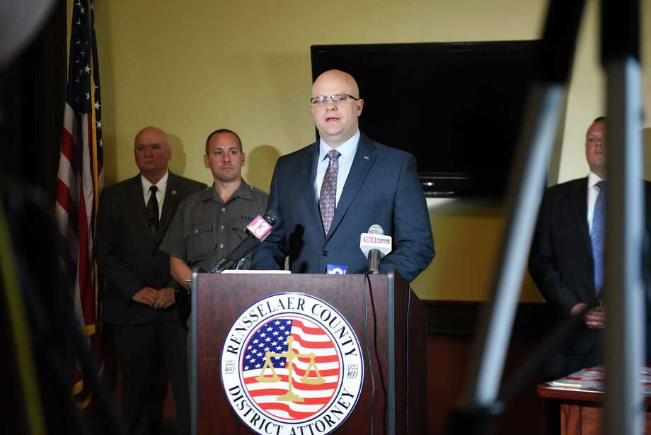 Rensselaer County District Attorney Joel Abelove speaks during a press conference to announce the results of a drug bust at the Disc Jam Music Festival in Stephentown on Thursday, June 21, 2018, at the DA's office in Troy, N.Y.  The bust was part of a joint effort with the New York State Police Community Narcotics Enforcement Team. (Will Waldron/Times Union) Photo: Will Waldron / 20044176A