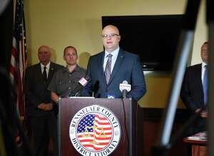 Rensselaer County District Attorney Joel Abelove speaks during a press conference to announce the results of a drug bust at the Disc Jam Music Festival in Stephentown on Thursday, June 21, 2018, at the DA's office in Troy, N.Y.  The bust was part of a joint effort with the New York State Police Community Narcotics Enforcement Team. (Will Waldron/Times Union)