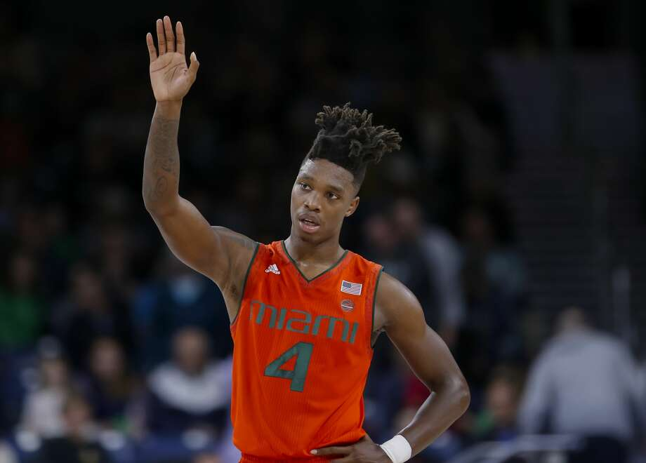 SOUTH BEND, IN - FEBRUARY 19: Lonnie Walker IV #4 of the Miami (Fl) Hurricanes brings the ball up court during the game against the Notre Dame Fighting Irish at Purcell Pavilion on February 19, 2018 in South Bend, Indiana. (Photo by Michael Hickey/Getty Images) Photo: Michael Hickey/Getty Images