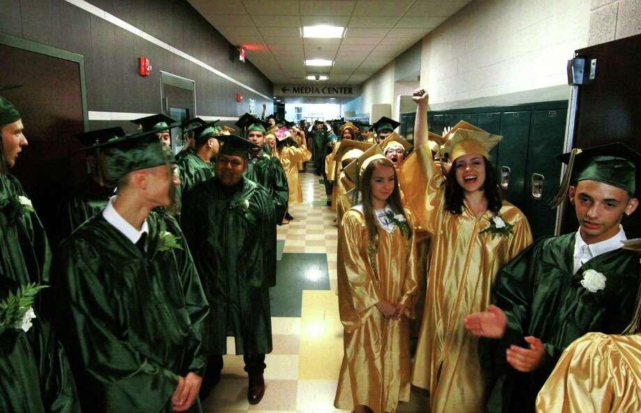 Emmett O'Brien Technical High School's Class of 2018 Graduation Ceremony in Ansonia, Conn., on Thursday, June 21, 2018. Photo: Christian Abraham, Hearst Connecticut Media / Connecticut Post