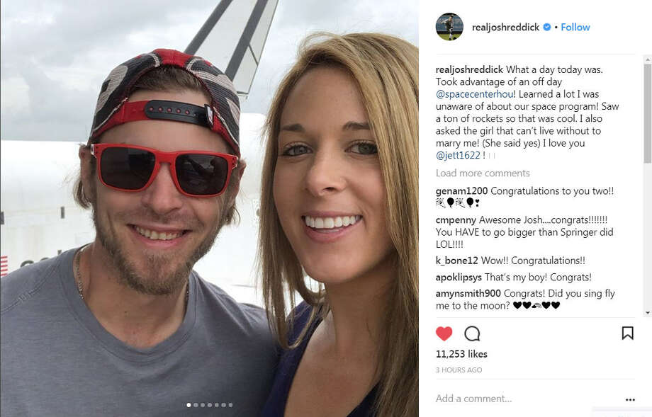 Houston Astros outfielder Josh Reddick got engaged to his fiancee Jett Elkins at NASA Thursday.