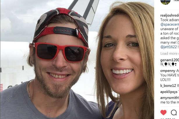 Houston Astros outfielder Josh Reddick got engaged to his fiancee Jett Elkins at NASA Thursday.   image via  @RealJoshReddick  on Instagram