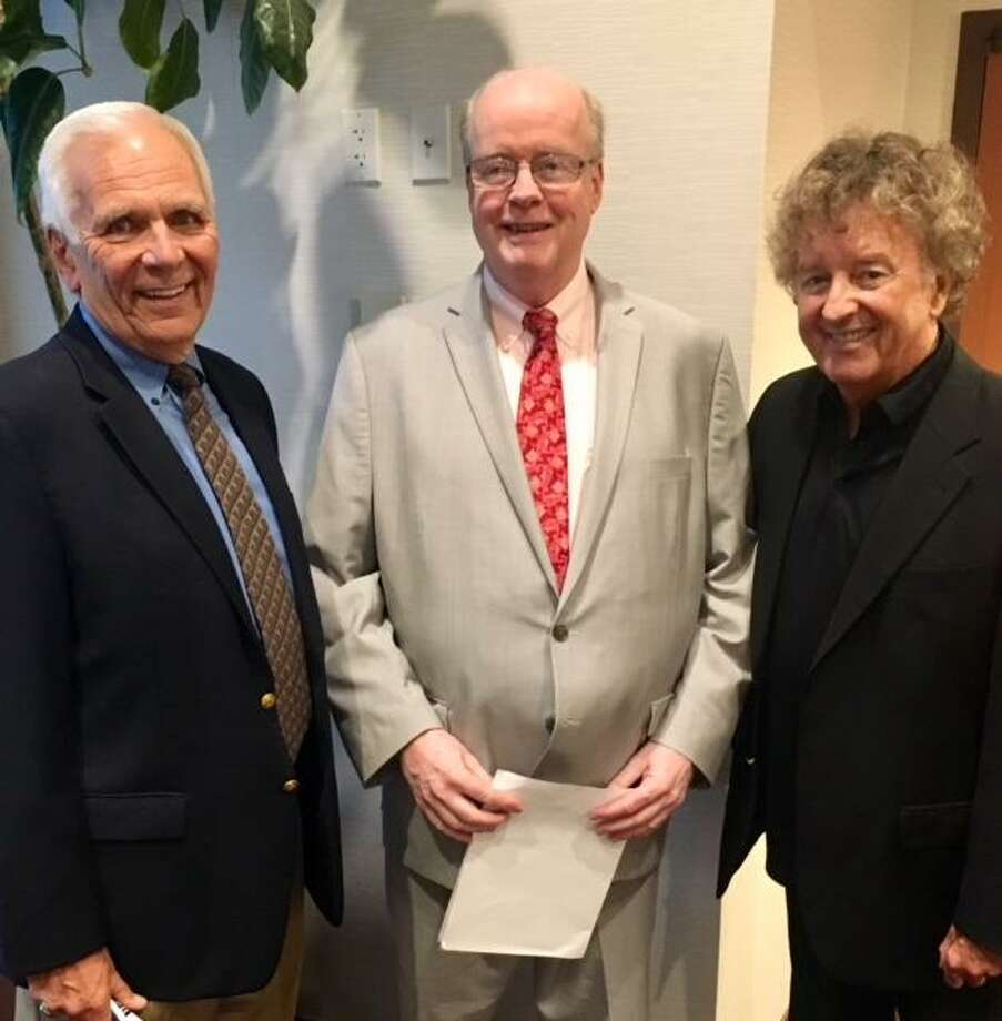 Jack Kvancz, Orcutt Boys and Girls Club executive director Bob Keeley, and Tom Penders pose for a picture at Thursday night's dinner at the Holiday Inn in Bridgeport. Photo: Contributed Photo