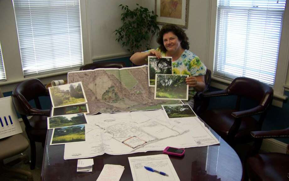 Kathy Braun, R-8, goes over the plans for the town's proposed softball field on Hoydens Hill Lane. Braun is petitioning against the project, which was approved by the RTM last week in a narrow vote. She's seen here at her 1212 Post Road law office. Photo: Tim Loh / Fairfield Citizen