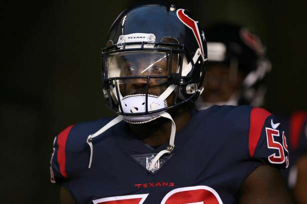 CINCINNATI, OH - SEPTEMBER 14: Houston Texans outside linebacker Whitney Mercilus (59) takes the field for warm ups before the NFL game against the Houston Texans and the Cincinnati Bengals on September 14 2017, at Paul Brown Stadium in Cincinnati, OH. (Photo by Ian Johnson/Icon Sportswire via Getty Images)