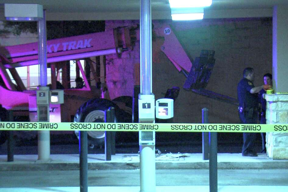 The suspects used a Sky Trak telescopic forklift to rip out the ATM around 4:45 a.m. at the Pioneer Bank in the 900 block of East Basse Road.